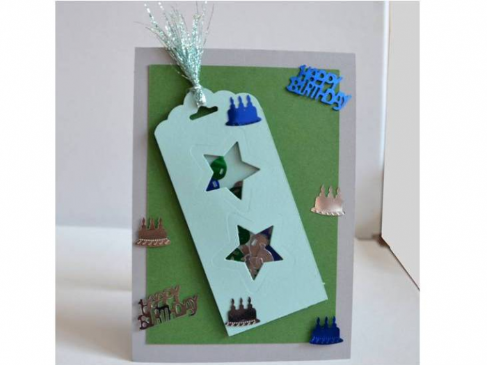 Geburtstagskarte mit Schütteleffekt, Klappkarte von vorne
