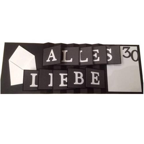 Geburtstagskarte schwarz-weiß mit Akkordeoneffekt, Innenseite