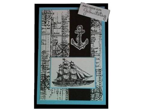 DIY-Geburtstagskarte mit maritimen Mustern für Wasserbegeisterte und Bootfans