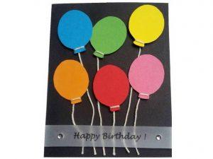 3D-Geburtstagskarte mit bunten Luftballons