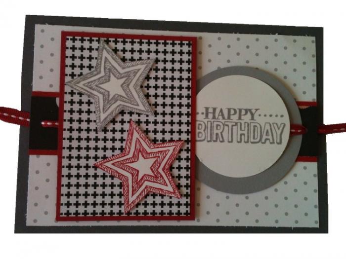 Geburtstags- oder Weihnachtskarte mit Sternen, in schwarz-weiß-rot