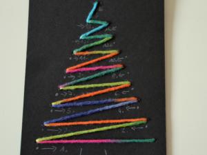 Weihnachtskarte - In dieser Abfolge wird der Baum aufgestickt
