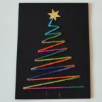 Weihnachtskarte – Schwarz, Neon, Baum, Einfach, Schön
