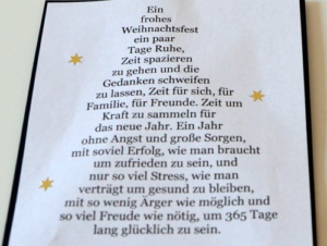 Weihnachtskarte - Rückseite mit dem Text in Baumform