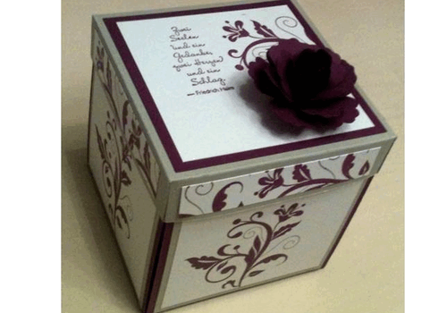 Geschenkverpackung weinrot-weiße Box zur Hochzeit