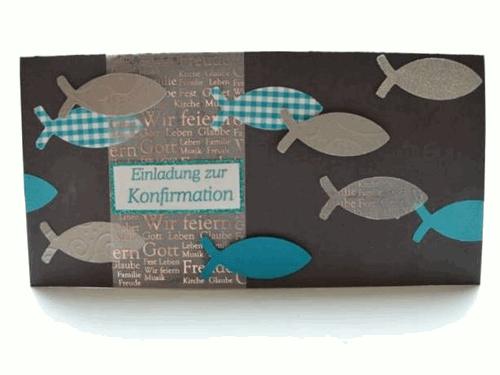 Einladungskarte zur Konfirmation eucharistischen Fischen