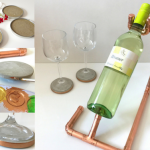 Wein geniessen mit Stil – Flaschenhalter aus Kupfer, Untersetzer aus Beton