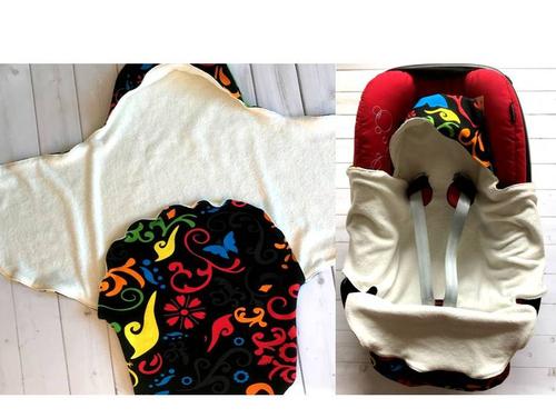 Du kannst die Einschlagdecke in zwei Varianten nutzen: Rumtragen oder in der Babyschale.