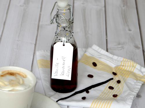 Vanille-Karamell Sirup zum leckeren Latte Macchiato genießen