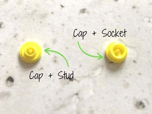 Für ein Kam Snap Versschluss steckst Du das Stud auf ein Cap und ein Socket auf ein Cap.