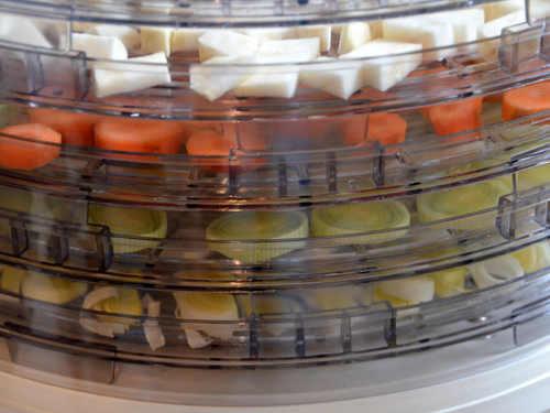 Suppengemüse im Dörrautomaten verteilen