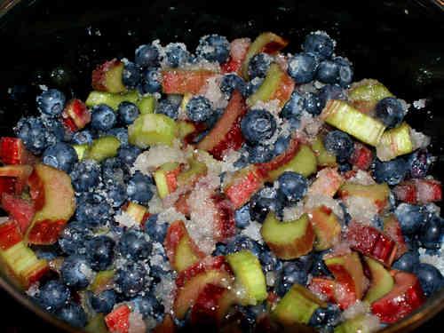 Zuckere den geschnittenen Rhabarer und die Heidelbeeren.