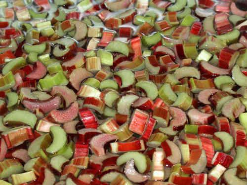 Schneide den Rhabarber für die Marmelade klein.