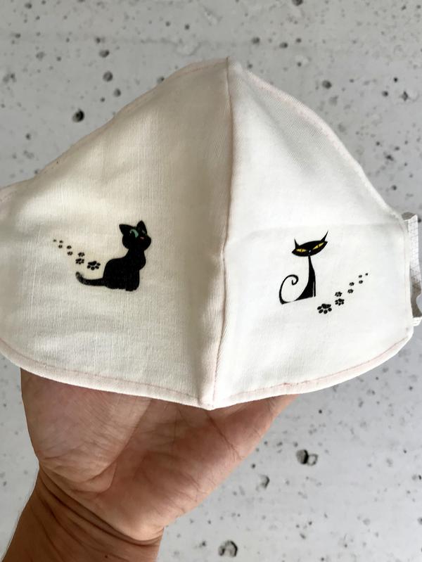 Mund-Nasen-Bedeckung mit Katzen bedruckt